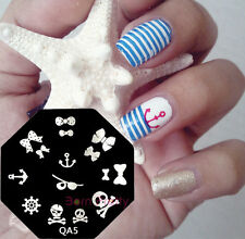 Bowknot Skull Anchor Nail Art pochoir Stamping plaque Template Ongle decor- QA5