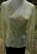 ID/ENTITY by Lord & Taylor Yellow Print LS Top Blouse Cross-over Front Nylon L
