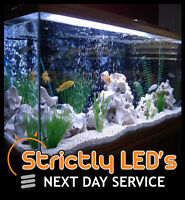 White LED Tube Bar Aquarium Fish Tank Lighting Strip Lights Submersible 100cm UK