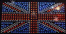 8inc UNION JACK UK FLAG iron-on Rhinestone Diamante gem TSHIRT TRANSFER applique