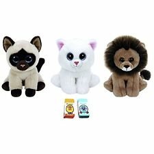 Ty Small (6-in) Jaden Siamese Cat Beanie Baby Cecil the Brown Lion Plush Figures