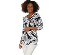 Belle By Kim Gravel Triple Luxe V-Neck Tunic with Mini Tassels X-Small Size QVC