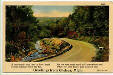 VINTAGE 1938 LINEN Postcard ~ Greetings from Chelsea Michigan ~ POEM ~ CURTEICH
