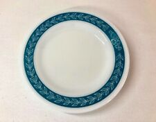 4 Vintage Pyrex Milk Glass Small Plates Blue Grass Pattern #713 Turquoise Teal