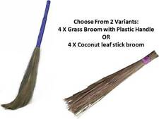 Jhadu Indian Traditional Home Cleaning Broom 2 Variants Set of 4 Assorted Color