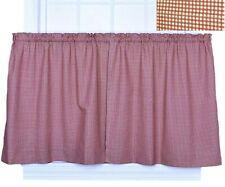 Ellis Logan Check Tier Curtain Set Kitchen 100% Cotton Gingham Country Red 68X36