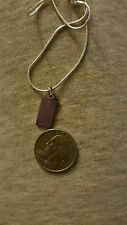 """COACH PURPLE DOGTAG says COACH CHARM AND  SILVER 18"""" CHAIN  AUTHENTIC!!"""
