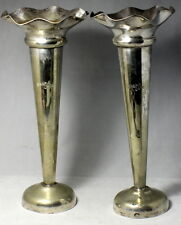 Pair Antique Silver Plate MAGPIE CAFE Trumpet Vases & Advertising Flier BATHURST