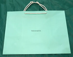 "Tiffany & Co. Large 15""  x 11""  x 8"" Blue Paper Shopping Gift Bag"