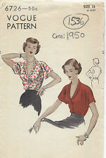 1950 Vintage VOGUE Sewing Pattern B34 BLOUSE (1536)