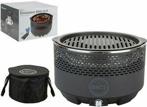 BBQ Portable Table Top Smokeless Charcoal Lotus Style Grill Carry Bag Slate Grex