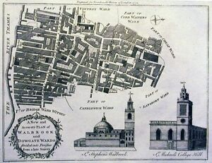 Antique map, A new and accuracte plan of Walbrook and Dowgate Wards