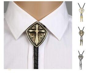 Roman Shield Cross Pattern Bolo Ties Men Women Leather Rope Zinc Alloy Neckties
