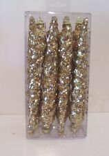8 GOLD GLITTER ICE CICLES SHATTER RESISTANT ORNAMENT TREE DECORATIONS CHRISTMAS