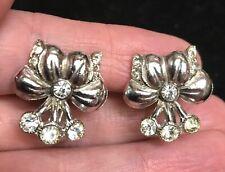 Vintage Rhinestone flower spray screw back Earrings silver tone