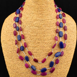 245.00 Cts Earth Mined 3 Line Red Ruby & Sapphire Oval Beads Necklace JK 23E165