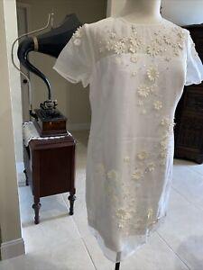 Nwt Ted Baker Findon Ivory Embellished 3D Floral Dress Size 3 L