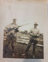2 Vintage Old 1920's Photo of Men Man Aiming Gun Rifle & Showing Friend Firearms