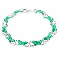 Silver LIGHT GREEN ENAMEL BUTTERFLY link BRACELET LOVE