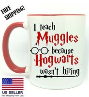 Harry Potter, I Teach Muggles, Birthday , Christmas Gift, Red Mug 11 oz, Coffee