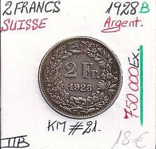 SUISSE - 2 FRANCS - 1928 B - Pièce de Monnaie en Argent (750 000 Ex) Qualité:TTB