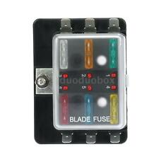 6 Way Blade Fuse Box Holder LED Warning Light For Car Boat Marine 12V 24V N5P5