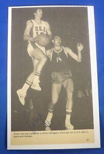 ERNIE DIGREGORIO  signed auto 5x8 index 1972 Olympics Braves Celtics LA Lakers