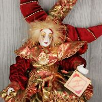 Porcelain Mardi Gras Doll Woman in Jester Costume Red and Gold with COA