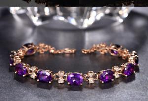 10Ct Oval Cut Amethyst Attractive Vintage Tennis Bracelet 14K Rose Gold Finish