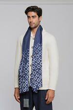 """550$ GIORGIO ARMANI Black Label Stole Scarf Logo Blue Pure Silk 26""""x71"""" inch"""