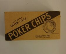 Vintage Styrene Interlock Poker Chips No. 353 in Original Box Gambling Casino