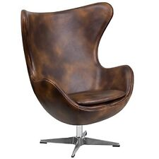 Flash Furniture Bomber Jacket Leather Egg Chair with Tilt-Lock Mechanism NEW