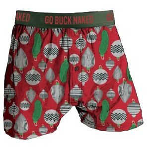 Duluth Trading Co Buck Naked Performance Boxers - Christmas Pickle - Large
