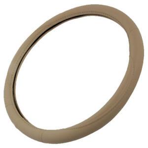 Ergonomic Soft Leather Grip Steering Wheel Cover Beige  14.5 15 15.5 inch