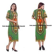 Dashiki African Poncho Tribal Long Shirt Maxi Kaftan 100% Cotton Bright Bohemian