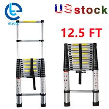 Aluminum 125ft Multi Purpose Telescopic Extension Ladder Heavy Duty Step Ladder