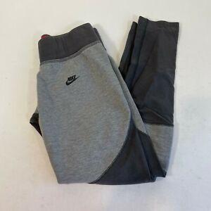 Nike Tech Gray Black Fleece Jogger Tracksuit Pants Sz L Stretch Kids Sportwear