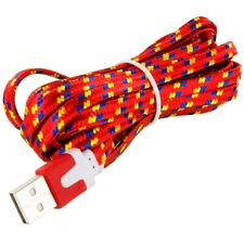 2X Red Braided Micro USB Flat Noodle Data Cable 10FT For Samsung Galaxy S5 S4 S3
