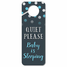 Quiet Please Baby is Sleeping Blue Plastic Door Knob Hanger Sign