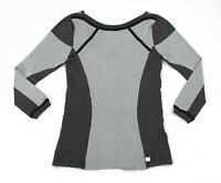 New KAREN MILLEN (Sz 1) UK 8 High Stretch Jersey Sporty Grey Black Panel Top
