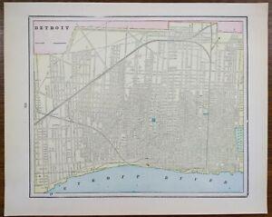 "Vintage 1900 DETROIT MICHIGAN Map 14""x11"" ~ Old Antique Original MOTOR CITY"