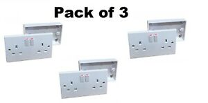Double Switched Wall Socket 2 Gang Twin + 25mm Surface Pattress Back Box