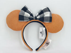 Headband Ears 2021 Disney Parks Black White Check Orange Corduroy Limited NWT