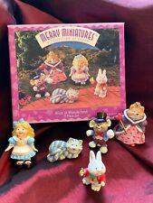 Hallmark 1996 Alice In Wonderland Merry Miniatures 5pc Set Story Time Vtg w Box!