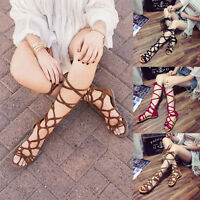 Women Knee High Gladiator Summer Sandals Cut Out Lace Up Ladies Flat Shoes Size