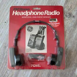 General Electric GE Stereo Headphones Wireless One Piece FM Radio 7-1285S
