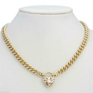18K Yellow Gold GL Womens Solid Med Euro Curb Necklace with Pink Heart 55cm