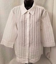JH Collectibles Womans White/Silver Striped Button Down Semi Sheer Shirt Size XL