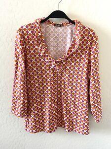 J.McLaughlin Catalina Cloth Printed Top Multicolor 3/4 Sleeve Sz M Pink Orange