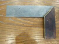 """Antique Stanley Try-Square 6"""" Wood & Brass Carpenter's Woodworking Tools Pat. 98"""